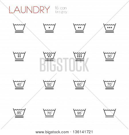 Laundry line gray icons set of 16