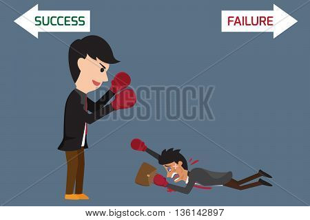 Business competition concept: business battle between big and small business. vector illustration.