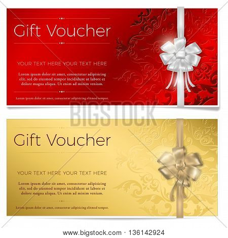 Red and gold gift voucher. Two gift vouchers with silver and gold bow. Vector illustration.