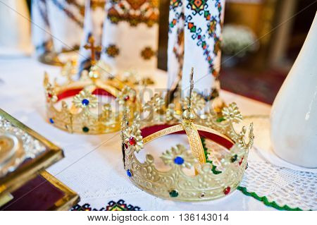 Wedding crown at church ceremony at wedding