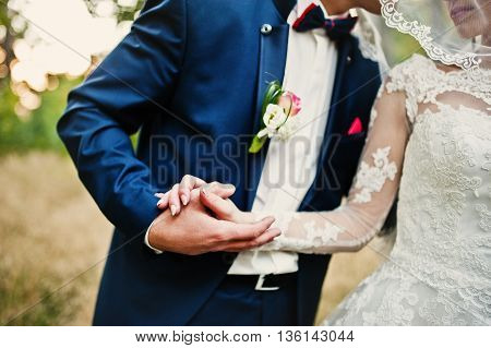 Hand In Hand Of Stylish Wedding Couple