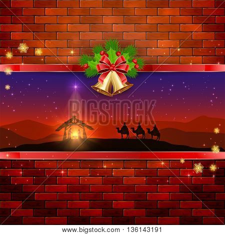 Christmas scene, the birth of Jesus with Christmas star, three wise men, golden bells, red bow, holly berries, stars and snowflakes, on brick wall background, illustration.