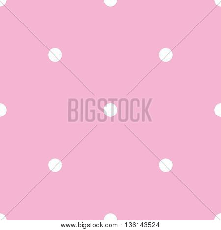 Tile vector pattern with white polka dots on pink violet background