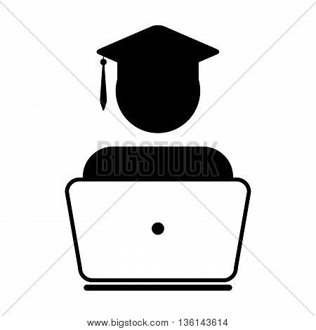 Student Icon - Laptop, Academic, On-line Graduation Glyph Vector illustration