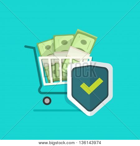 Shopping cart, pile of money, shield vector illustration, concept of ecommerce payment protection, protected cash, secure payment online, financial safe, wealth insurance, banking security