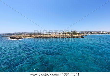 Photo of sea and rocks in protaras paralimni cyprus island.