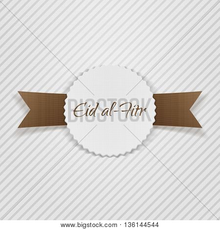 Eid al-Fitr greeting paper Tag. Vector Illustration