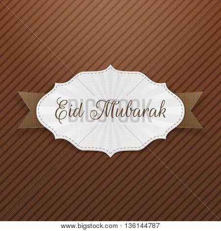 Eid Mubarak festive paper Emblem. Vector Illustration