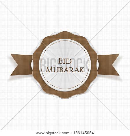 Eid Mubarak realistic greeting Label. Vector Illustration