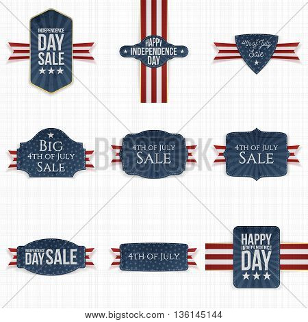 4th of July patriotic Labels Set. Vector Illustration
