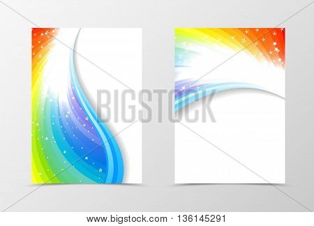 Rainbow flyer template design. Abstract flyer template in rainbow color with blue lines and white stars. Spectrum flyer design. Vector illustration