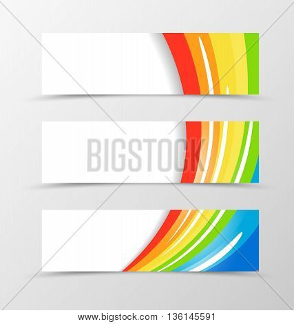 Set of banner rainbow design. Shiny banner for header in rainbow color with white blots. Design of banner in wavy spectrum style. Vector illustration