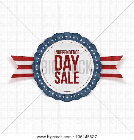 Independence Day Sale realistic Label. Vector Illustration