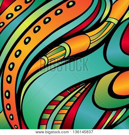 Decorative background. Abstract pattern. Bright colors. Techno style. Vector illustration.