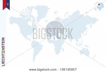 Blue World Map With Magnifying On Liechtenstein.