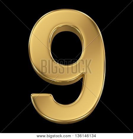 3d rendering, olden shining metallic number collection - nine, isolated on black