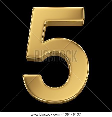 3d rendering, olden shining metallic number collection - five, isolated on black