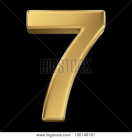 3d rendering, olden shining metallic number collection - seven, isolated on black
