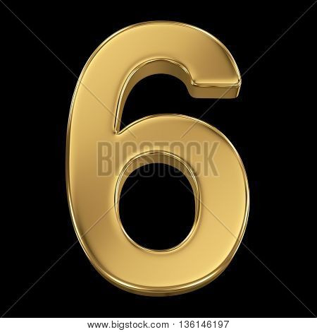 3d rendering, olden shining metallic number collection - six, isolated on black