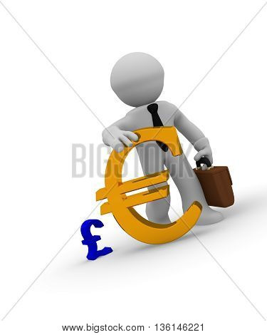Businessman with a big golden Euro sign and a small blue pound icon on white
