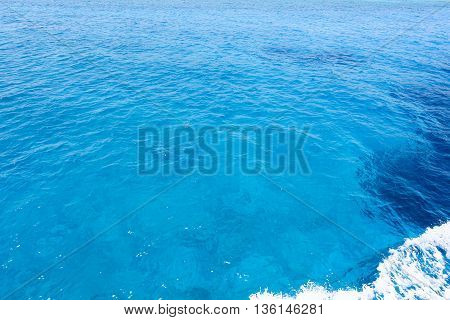Photo of blue and aqua sea and immaculate water in protaras paralimni, cyprus island.