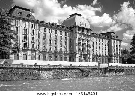 SAN PELLEGRINO TERME, ITALY - JUNE 18, 2016: view of the Grand Hotel in San Pellegrino Terme, in Liberty style; built in 1905 is closed and unused since 1975.