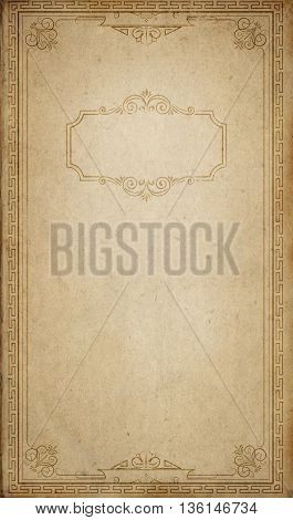 Aging paper background with old-fashioned decorative border and frame. Vintage frame for the design.
