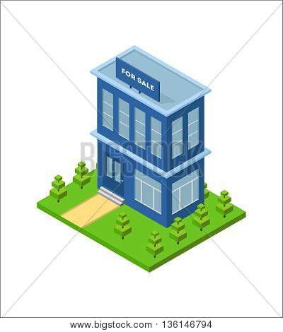 Isometric city building with billboard for sale from real estate. Three dimensional town house on the green grass. Small business office. Infographic design element. Vector isolated illustration.