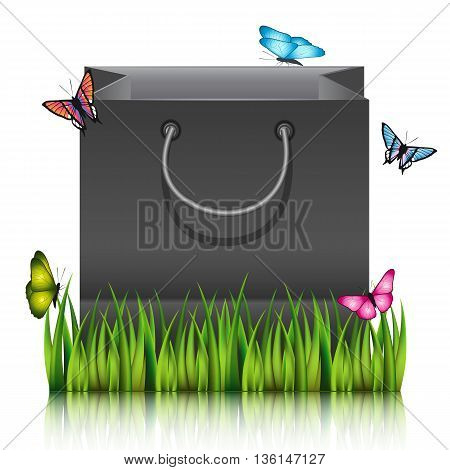 Paper shopping bag on the meadow grass with butterflies. Vector illustration.