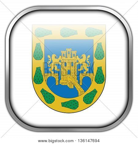 Flag Of Mexico City, Square Glossy Button