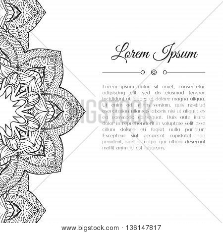 Black and white hand drawn doodle border. Abstract floral mandala zentangle background. Good for cards invitations wedding brochure flyer calendar. Monochrome coloring page. Vector illustration.