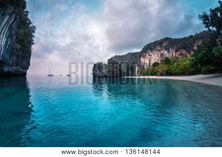 View of the lagoon with rocky cliff in the Andaman sea, Thailand