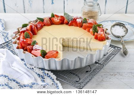 Cheesecake with Strawberries in Backing From
