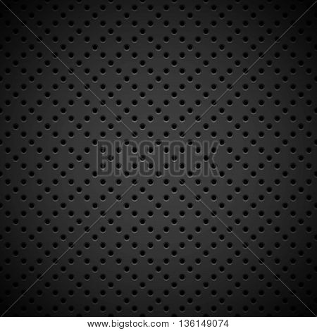 Black abstract technology background with seamless circle perforated pattern, speaker grill texture for design concepts, web, presentations, interfaces and prints. Vector illustration.