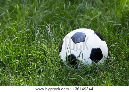 the soccer ball on a green lawn