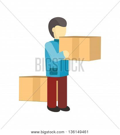 Profession courier with box. Delivery man, delivery icon, free delivery, delivery parcel, service delivery, person profession character courier postman vector illustration