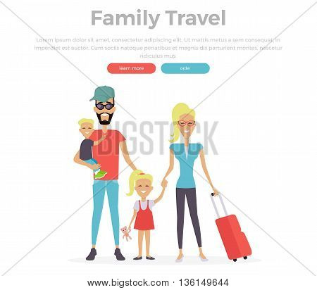 Happy family trip traveling. Parents with their children going for vacations. Concept in flat design. Travel, family vacation, family, family airport, family holiday, family trip