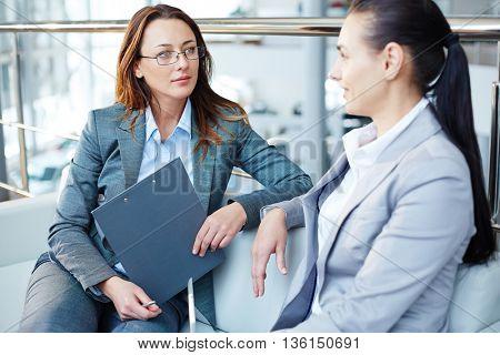 Business woman having an interview