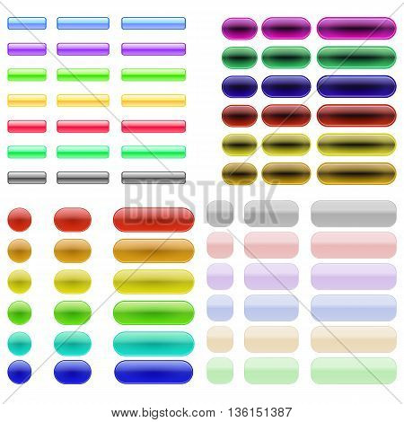 Set of Colorful Glass Buttons Isolated on White Background