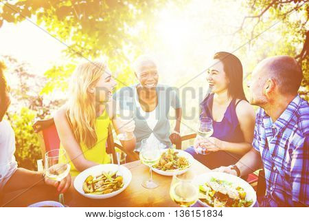 Diverse People Friends Fun Bonding Summer Concept
