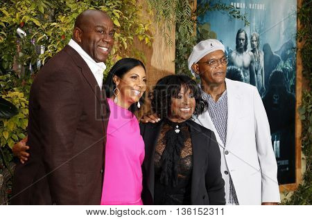 Samuel L. Jackson, LaTanya Richardson, Earlitha Kelly and Magic Johnson at the Los Angeles premiere of 'The Legend Of Tarzan' held at the Dolby Theatre in Hollywood, USA on June 27, 2016.