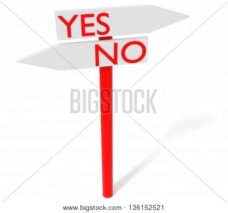 Yes or no: guidepost 3d illustration on a white background