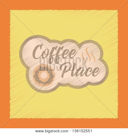 flat shading style icon coffee drink place logo