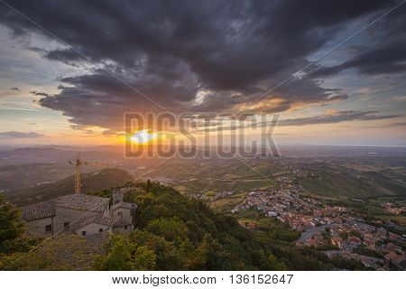 San Marino View from the Monte Titano during sunset