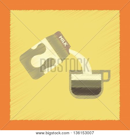 flat shading style icon coffee carton milk