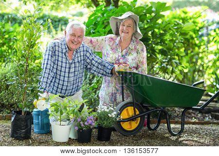Portrait of senior couple kneeling by wheelbarrow in garden