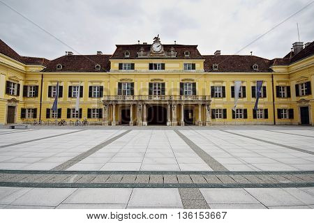 Palace Schloss Laxenburg (Laxenburg Castle) in Austria Europe. Ancient architecture. Beautiful panoramic view. Imperial Habsburg Dynasty.