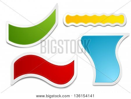 Bright web stickers vector design. Collection of colorful wavy banners, web labels tape template background. Web blank sticker banners
