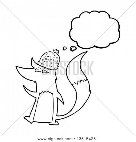freehand drawn thought bubble cartoon little wolf