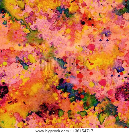 Vibrant seamless pattern; abstract grunge background texture with splashes of paint of various colors